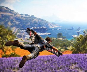 Оперативник пролетает над полем сирени на кадрах Just Cause 3