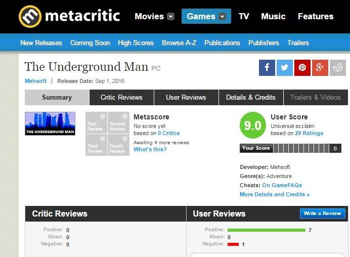 The Underground Man Ильи Мэддисона появилась наMetacritic иTwitch. - Изображение 1