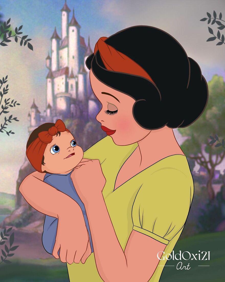 Российская художница изобразила принцесс Disney ввиде мам сдетьми | Канобу - Изображение 12082
