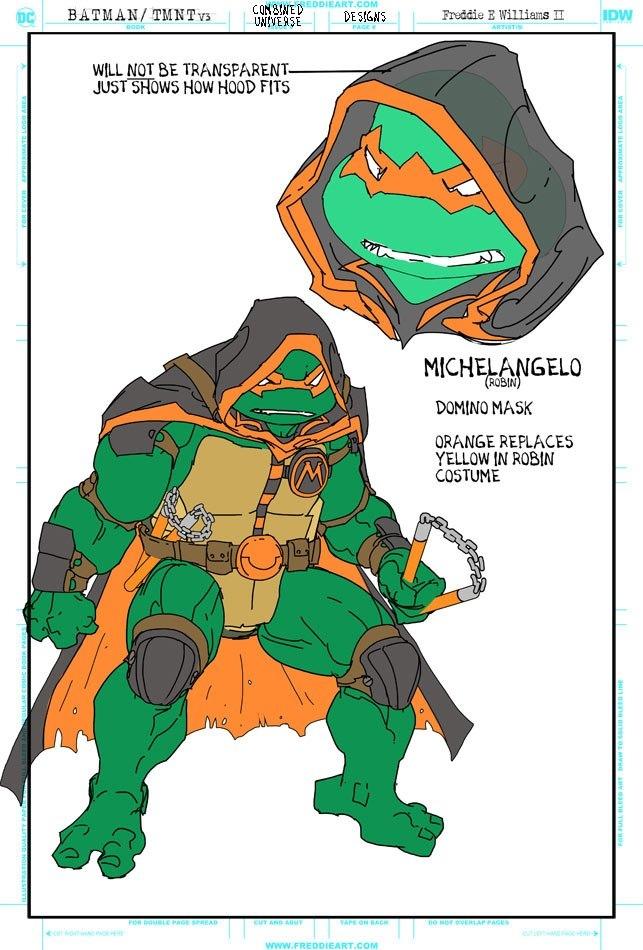 Втретьем кроссовере Черепашек-ниндзя иБэтмена появятся гибриды героев. Например, Найтвинг-Леонардо   Канобу - Изображение 7260