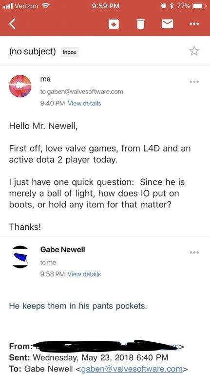 По словам Гейба Ньюэлла, Io из Dota 2 носит артефакты в карманах брюк . - Изображение 1